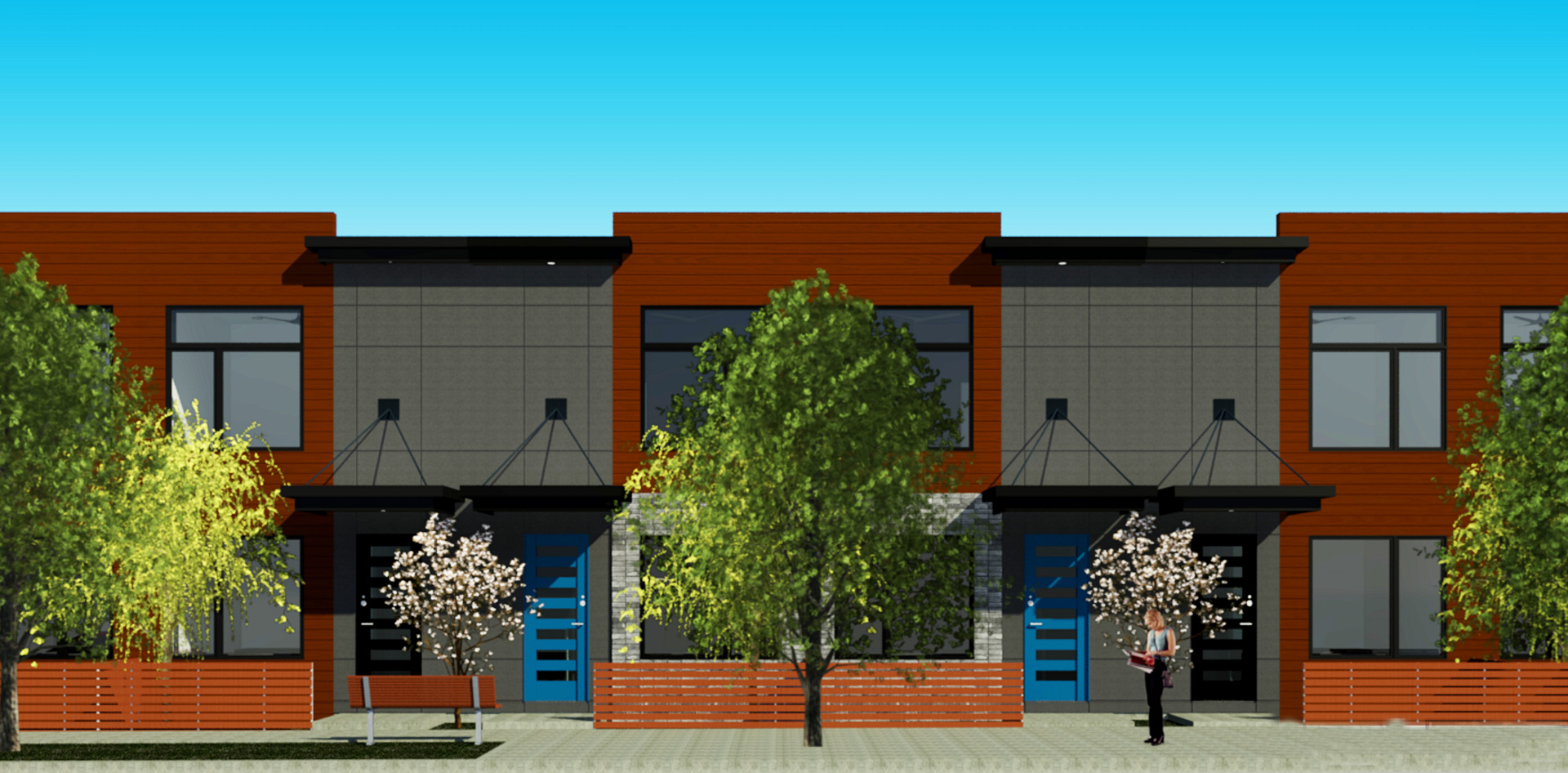 High Street Townhomes - Front Canopies - Mill Street Elevation